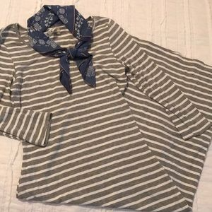 Midi Grey & white striped dress size Small